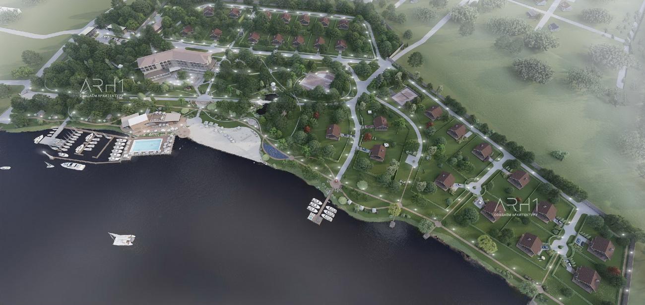 Генплан базы отдыха (турбазы) с причалом у реки - АРХ1