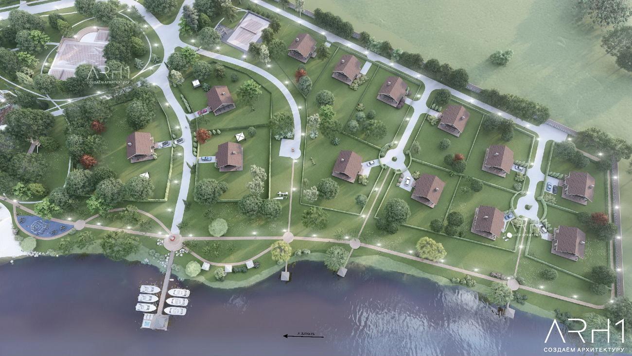 База отдыха (турбазы) с причалом у реки - АРХ1