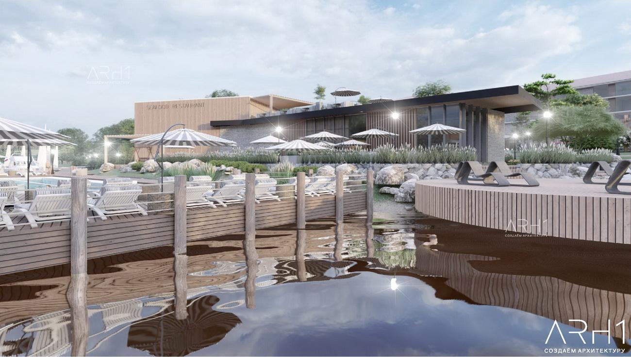 База отдыха (турбаза) с бассейном у реки - АРХ1