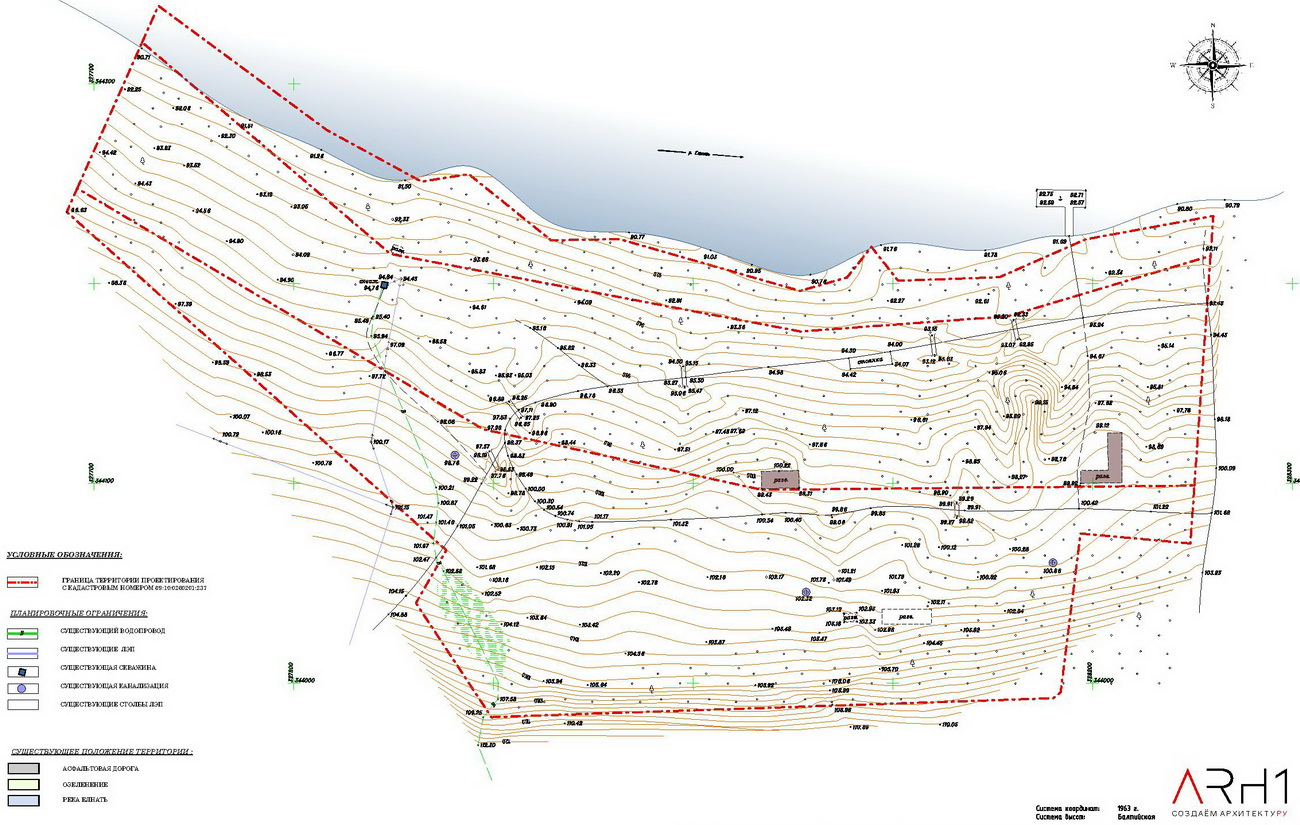 Проект базы отдыха (турбазы) с причалом у реки - АРХ1