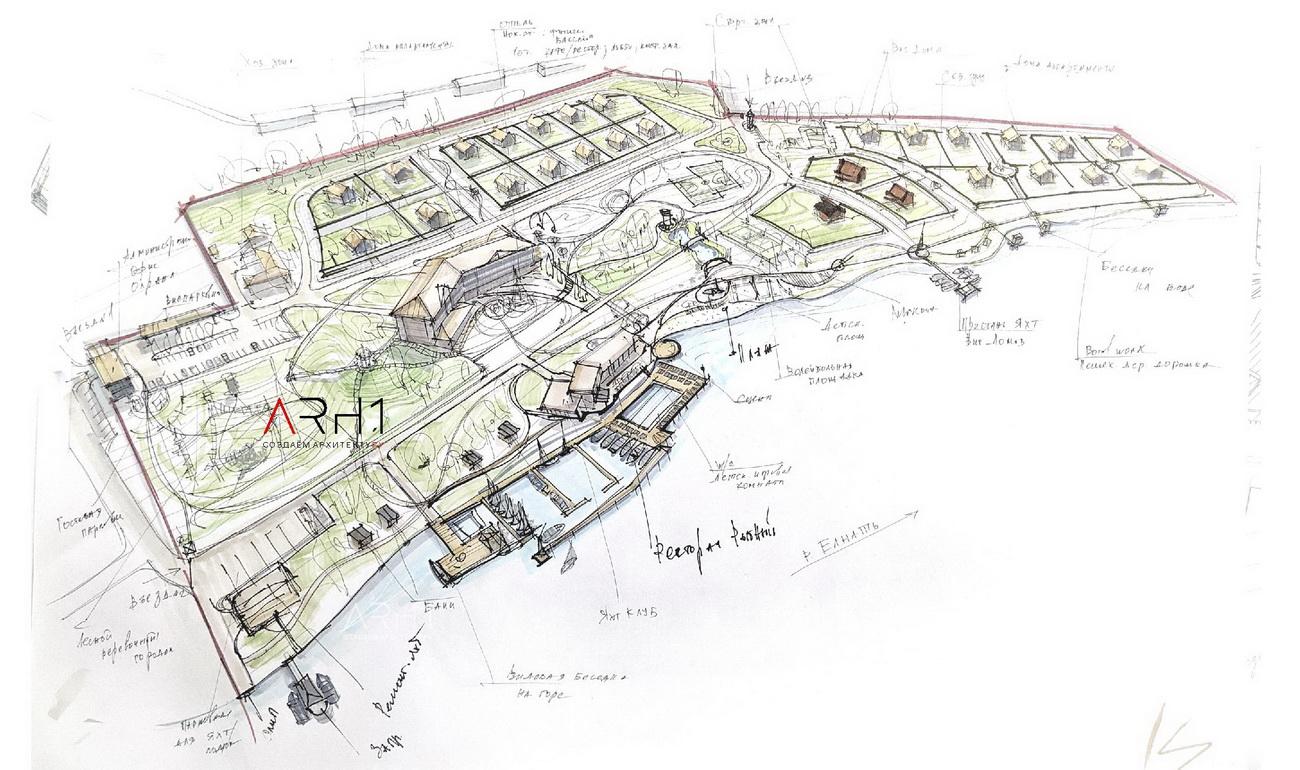 Эскиз проект базы отдыха (турбазы) с причалом у реки - АРХ1